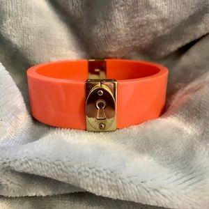 Coral/gold fossil bangle bracelet